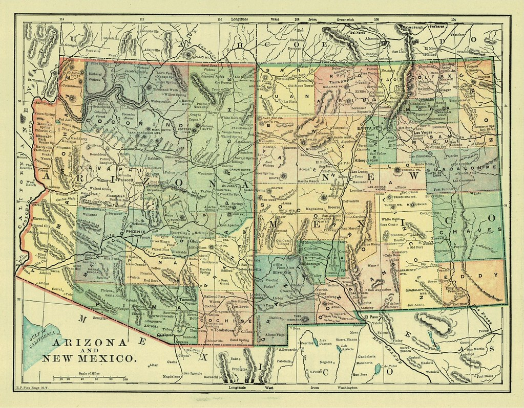 Arizona and New Mexico Territories Map, 1896 | thornydalemapco | Flickr