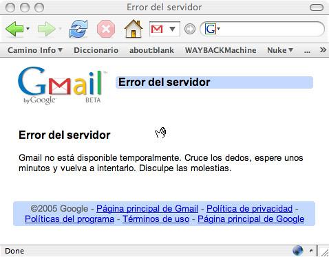 Error del servidor de Gmail