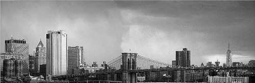 B&W Brooklyn Bridge & Empire State Bldg