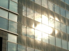 sun reflection in building