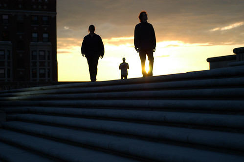 sunset people building stairs three downtown shadows indianapolis nikond100 indiana backlit dslr warmemorial threepeople