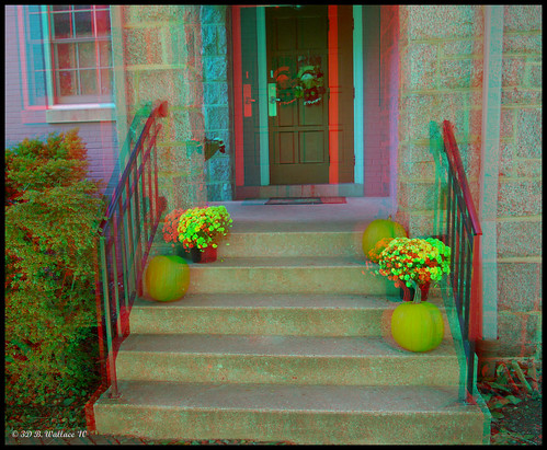 door flowers autumn fall outside outdoors stereoscopic 3d md brian pumpkins steps maryland anaglyph mums stereo porch wallace railing easton stereoscopy stereographic brianwallace stereoimage stereopicture porchpumpkins