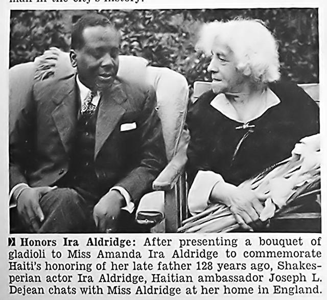 Daughter of Ira Aldridge with Haitian Ambassador Joseph Dejean in England - Jet Magazine January 5, 1956