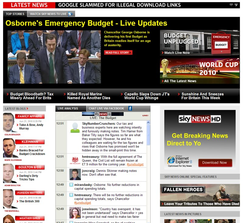 Sky News Homepage