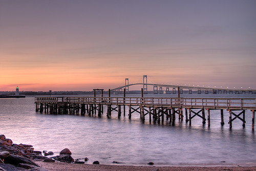 ri sunset lighthouse newport hdr goatisland newportbridge
