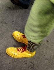 The yellow shoes.