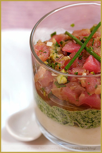 Duo of Vegetable Mousses and its Tuna Tartar