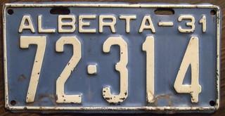 ALBERTA 1931 auto license plate