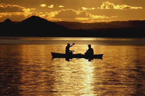 sunset water beautiful silhouette golden fishing thegalaxy