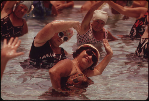 Residents of the Century Village Retirement Community Take Part in Organized Daily Exercises. | by The U.S. National Archives