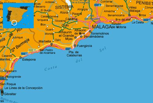 Mapa De Costas España.Mapa Costa Del Sol Espana Muchoviaje Hoteles En Costa