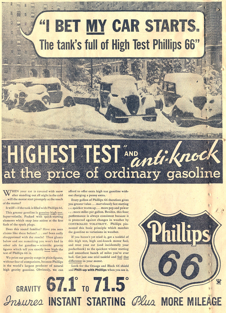I Bet My Car Starts | Philips 66 ad from a February 16, 1934… | Flickr