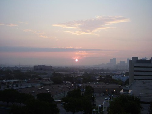 city sky sun west clouds sunrise landscape cityscape texas library patio pollution ozone 7th fortworth west7th redozonealert