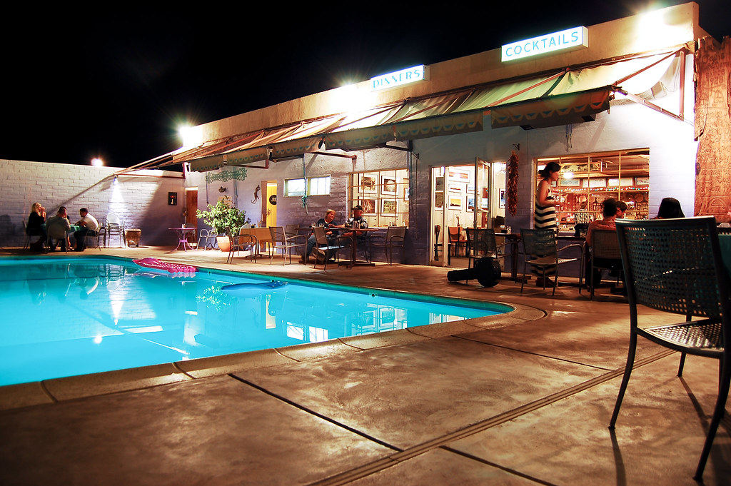 29 Palms Inn | Late-night relaxation poolside at the 29 Palm