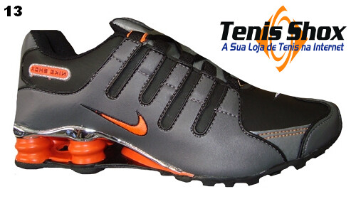 6a4944c572 Nike -Shox -NZ -Cromado- Preto- Grafite- e- laranja- MOD-0…
