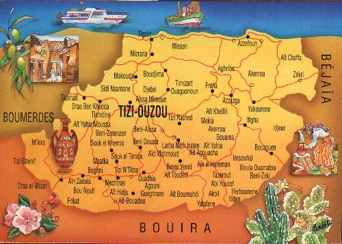 Carte Algerie Tizi Ouzou.Carte Du Departement De Tizi Ouzou Algerie Amazigh Kabyle
