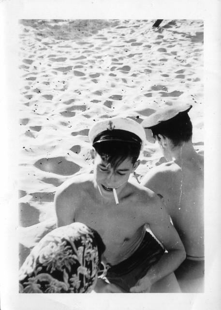 Sailor boys on beach