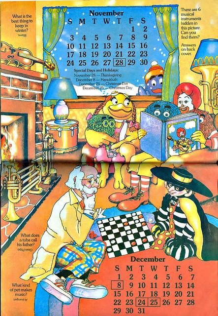 1985 Calendar.Mcdonaldland Fun Times 1985 Calendar Winter The Flickr