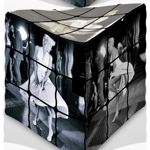 Marilyn Monroe,  cube, Würfel, windy whirly, effiArt. Crotch shot, Lüftung unter dem Kleid.