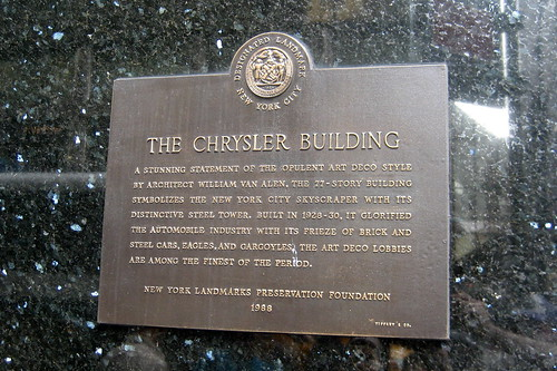 NYC: Chrysler Building - NYLPC Plaque | by wallyg