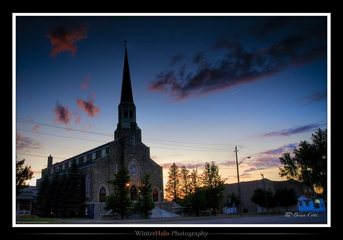 sunset ontario canada church clouds sudbury stjean a100 Église brébeuf tonemapping cz1680