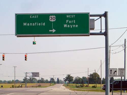 ohio highwaysign trafficsign trafficsigns beaverdam mansfield fortwayne us30 highway30 fortwayneindiana mansfieldohio us30east us30west