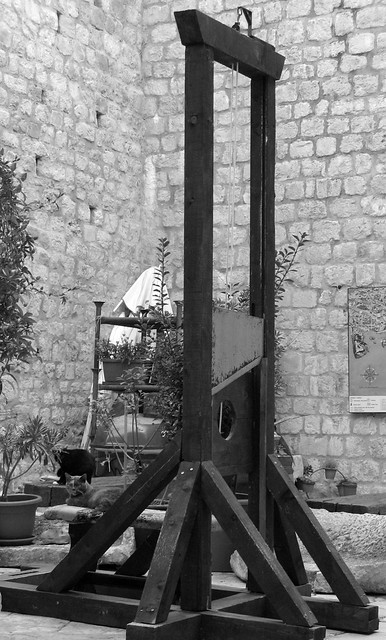 Guillotine in a courtyard guarded by a cat