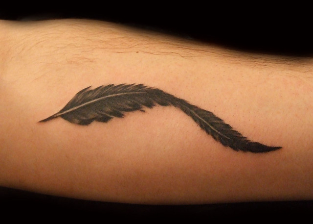 Black and Grey Feather Tattoo