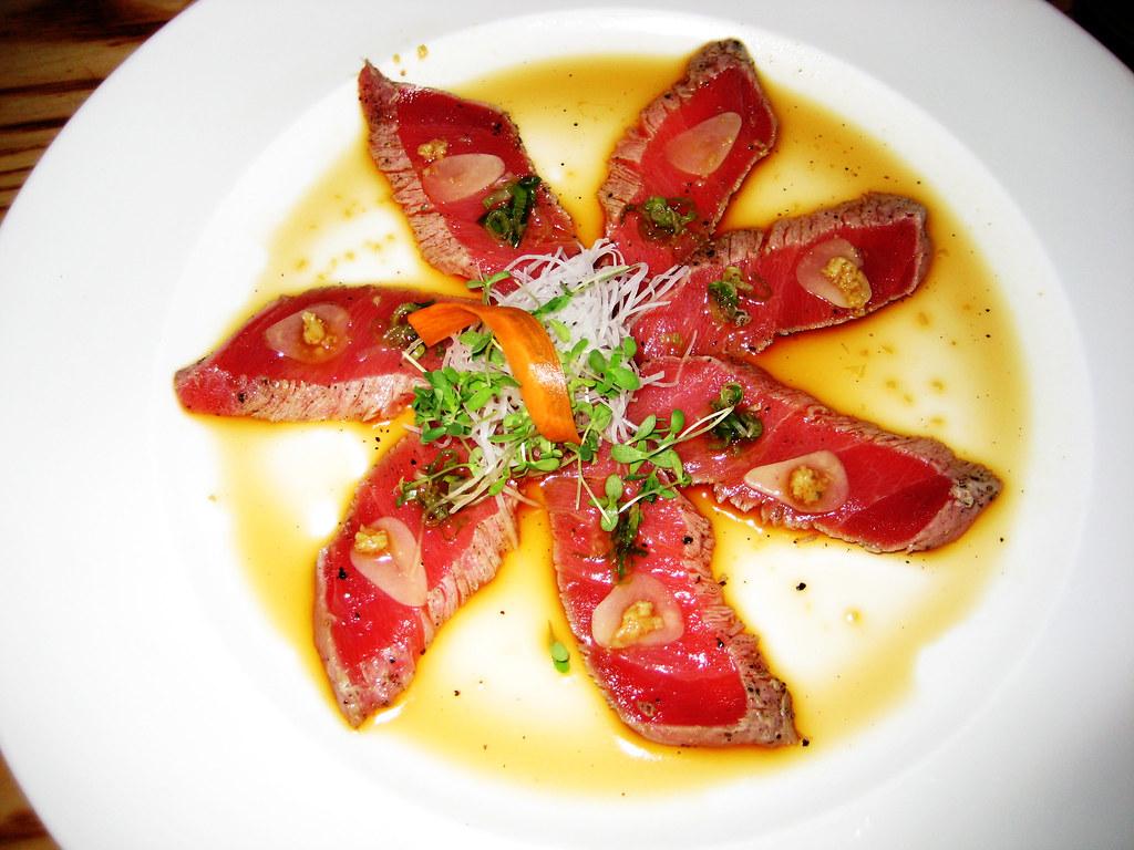 nobu: tuna tataki with garlic and ponzu sauce