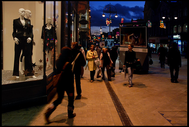 Winter's evening, shopping