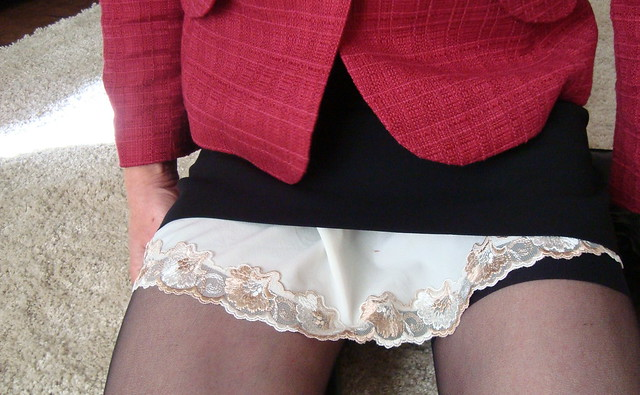Lace hem of my slip and stocking tops