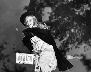Leslie Dughi dressed as a witch for Halloween in Tallahassee, Florida | by State Library and Archives of Florida