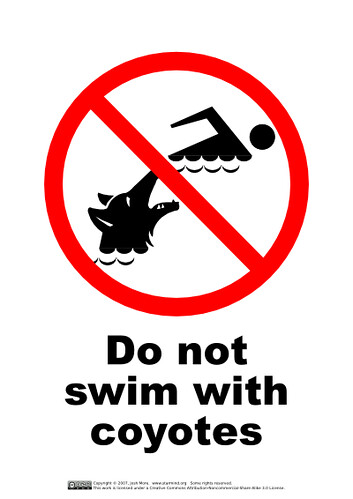 Do Not Swim With Coyotes | by guppiecat