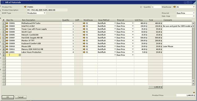 SAP Business One Screenshot Production Order BOM