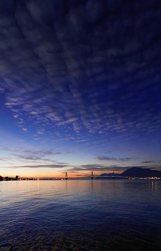 bridge sunset sky panorama rio horizontal clouds afternoon greece antirio achaia