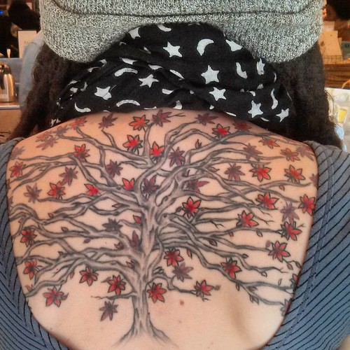 Here's the progress on my Japanese maple, 6 years in the making! Thanks to @tattoo_nate for the amazing work he's done. One more session left 🍁 thanks for the photo skillz @eyezazoosh   by operation_janet