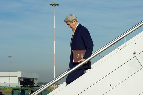 Secretary Kerry Deplanes at Ciampino Airport Outside Rome