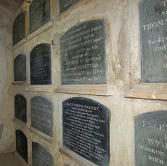 sealed coffin shelves in the Berney mausoleum
