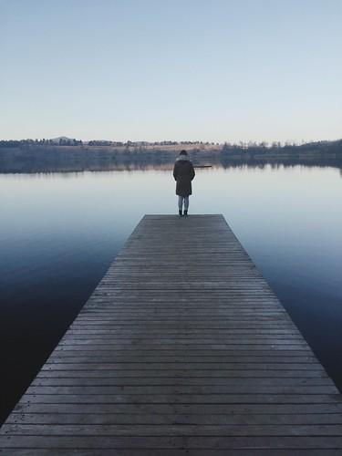 trip sunset lake reflection girl landscape roadtrip slovenia iphone