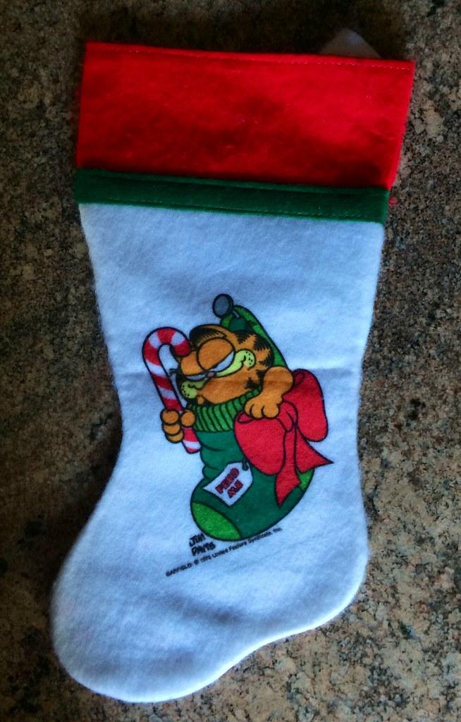 Garfield Christmas.Garfield Christmas Stocking 1980s Price Tag Still Inside