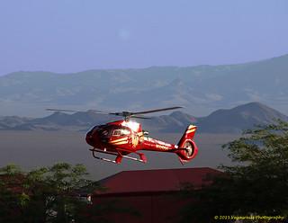 2011 EUROCOPTER EC 130 B4, On approach to landing spot at Boulder City Muni Airport KVBU