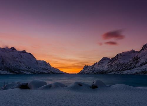 sunset vinter solnedgang kvaløya arcticlight yttersia arktisklys
