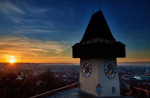 blue sky sun tower clock sunrise austria golden cityscape sony hour graz sonne sonnenaufgang schlossberg blaue stunde urturm sal1650 slta58
