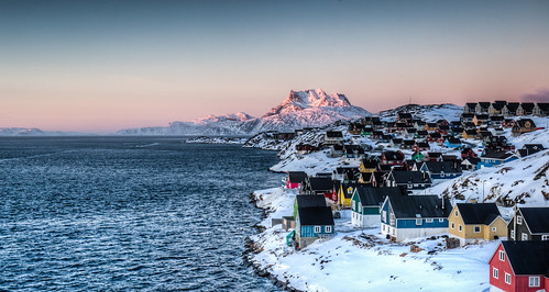 city pink winter sunset red sea sky house mountain snow water colors architecture landscape colorful cityscape dusk arctic greenland polar gl nuuk bygd sermitsiaq