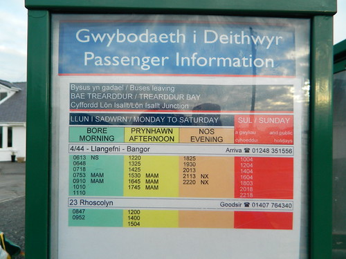 Timetable to Llangefni