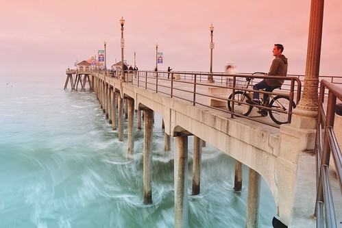ocean morning people beach water bicycle sunrise landscape pier surf waves sitting horizon filter sit seated