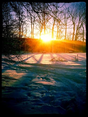 winter sunset sun snow