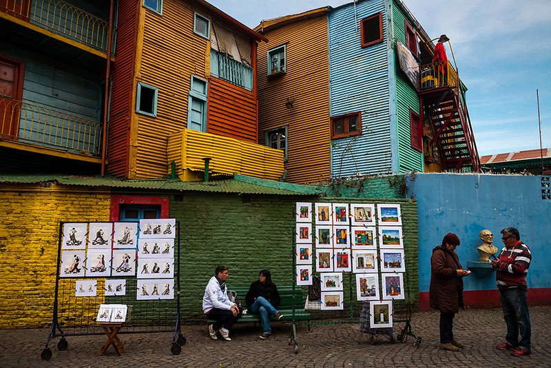 The colourful houses and street art market in Caminito, La Boca, Buenos Aires, Argentina