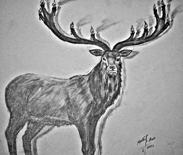 Creative Stag drawing series 04  by mohit kumar rao artist 2016