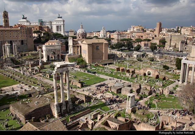 Foro Romano seen from Palatino, Rome, Italy
